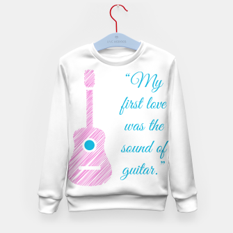 Thumbnail image of Musical quote and guitar Kid's sweater, Live Heroes