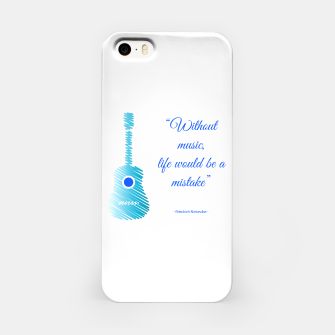 Miniatur Musical guitar quote. Without music, life would be a mistake. iPhone Case, Live Heroes