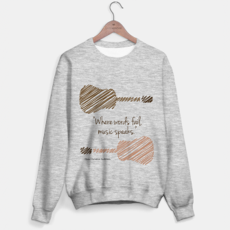 Thumbnail image of Guitars with a famous quote. Where words fail, music speaks by Hans christian Andersen Sweater regular, Live Heroes