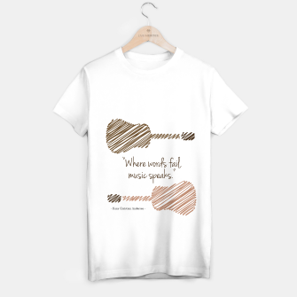 Thumbnail image of Guitars with a famous quote. Where words fail, music speaks by Hans christian Andersen T-shirt regular, Live Heroes