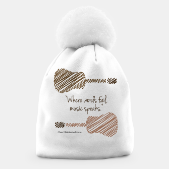 Thumbnail image of Guitars with a famous quote. Where words fail, music speaks by Hans christian Andersen Beanie, Live Heroes