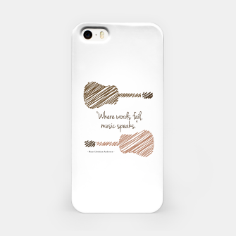 Thumbnail image of Guitars with a famous quote. Where words fail, music speaks by Hans christian Andersen iPhone Case, Live Heroes