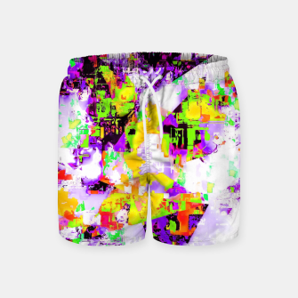 Thumbnail image of geometric triangle pattern abstract in purple yellow green Swim Shorts, Live Heroes
