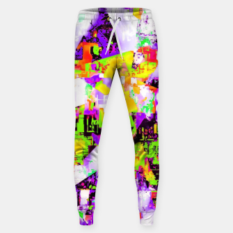 Thumbnail image of geometric triangle pattern abstract in purple yellow green Sweatpants, Live Heroes