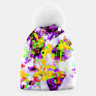 Thumbnail image of geometric triangle pattern abstract in purple yellow green Beanie, Live Heroes