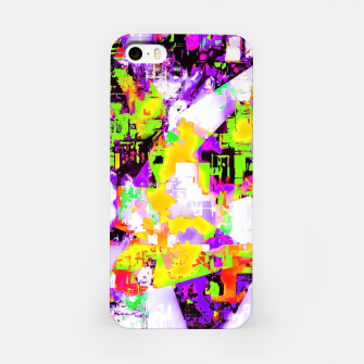 Thumbnail image of geometric triangle pattern abstract in purple yellow green iPhone Case, Live Heroes