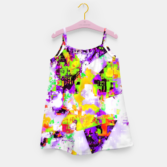 Thumbnail image of geometric triangle pattern abstract in purple yellow green Girl's dress, Live Heroes