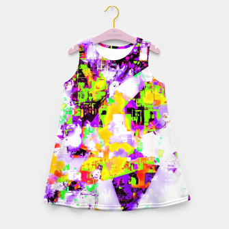 Thumbnail image of geometric triangle pattern abstract in purple yellow green Girl's summer dress, Live Heroes