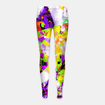 Thumbnail image of geometric triangle pattern abstract in purple yellow green Girl's leggings, Live Heroes