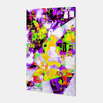 Thumbnail image of geometric triangle pattern abstract in purple yellow green Canvas, Live Heroes