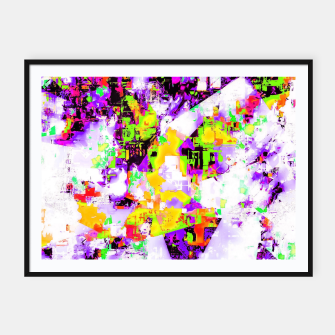 Thumbnail image of geometric triangle pattern abstract in purple yellow green Framed poster, Live Heroes