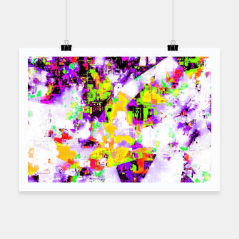 Thumbnail image of geometric triangle pattern abstract in purple yellow green Poster, Live Heroes