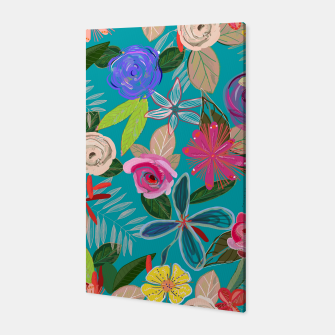Thumbnail image of Vivid colorful botanical flowers pattern with turquoise background Canvas, Live Heroes