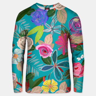 Miniatur Vivid colorful botanical flowers pattern with turquoise background Unisex sweater, Live Heroes