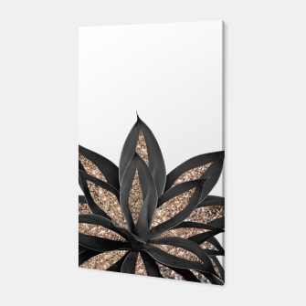 Thumbnail image of Gray Black Agave with Gold Glitter #2 #shiny #tropical #decor #art  Canvas, Live Heroes