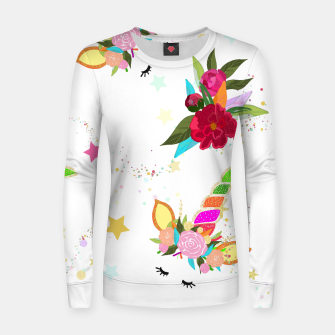 Thumbnail image of Magical unicorn colorful shining pattern with white background Women sweater, Live Heroes