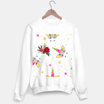 Thumbnail image of Magical unicorn colorful shining pattern with white background Sweater regular, Live Heroes
