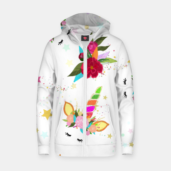 Thumbnail image of Magical unicorn colorful shining pattern with white background Zip up hoodie, Live Heroes