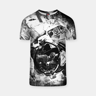 Thumbnail image of gxp astronaut in space splatter watercolor black white T-shirt, Live Heroes