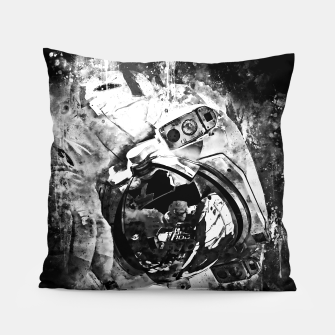 Thumbnail image of gxp astronaut in space splatter watercolor black white Pillow, Live Heroes