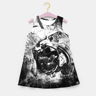 Thumbnail image of gxp astronaut in space splatter watercolor black white Girl's summer dress, Live Heroes