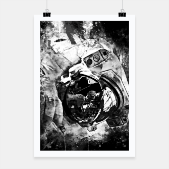 Thumbnail image of gxp astronaut in space splatter watercolor black white Poster, Live Heroes
