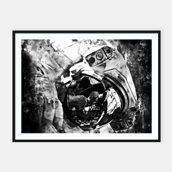 Thumbnail image of gxp astronaut in space splatter watercolor black white Framed poster, Live Heroes