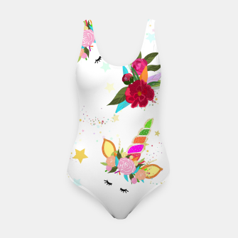 Thumbnail image of Magical unicorn colorful shining pattern with white background Swimsuit, Live Heroes