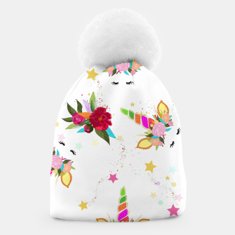 Thumbnail image of Magical unicorn colorful shining pattern with white background Beanie, Live Heroes