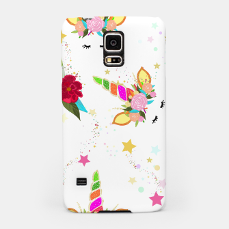 Thumbnail image of Magical unicorn colorful shining pattern with white background Samsung Case, Live Heroes