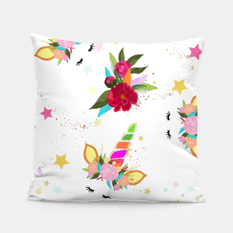 Thumbnail image of Magical unicorn colorful shining pattern with white background Pillow, Live Heroes
