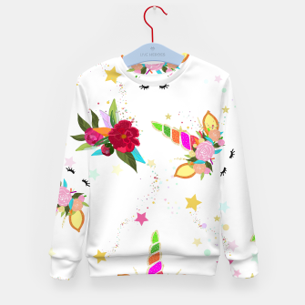 Thumbnail image of Magical unicorn colorful shining pattern with white background Kid's sweater, Live Heroes