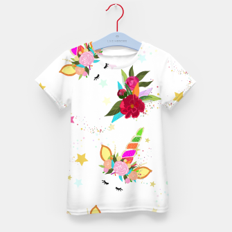 Thumbnail image of Magical unicorn colorful shining pattern with white background Kid's t-shirt, Live Heroes