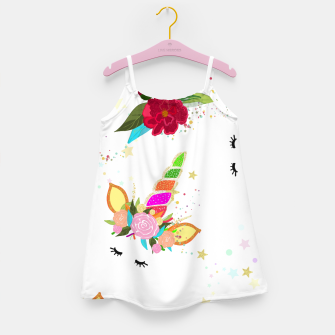 Thumbnail image of Magical unicorn colorful shining pattern with white background Girl's dress, Live Heroes