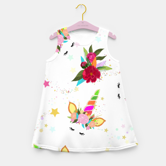 Thumbnail image of Magical unicorn colorful shining pattern with white background Girl's summer dress, Live Heroes