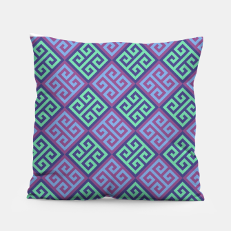 Thumbnail image of Ornate Twists Geometric Pattern - Blue & Purple Pillow, Live Heroes
