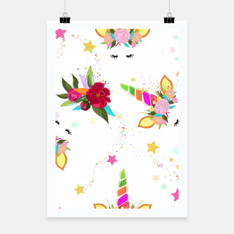 Miniatur Magical unicorn colorful shining pattern with white background Poster, Live Heroes