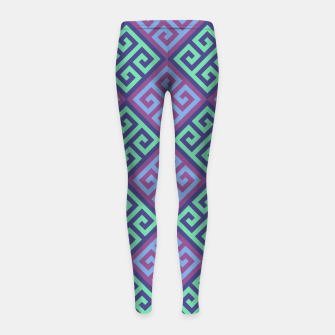 Thumbnail image of Ornate Twists Geometric Pattern - Blue & Purple Girl's leggings, Live Heroes