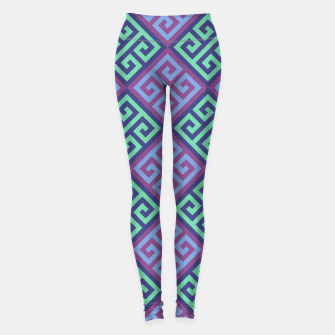 Thumbnail image of Ornate Twists Geometric Pattern - Blue & Purple Leggings, Live Heroes