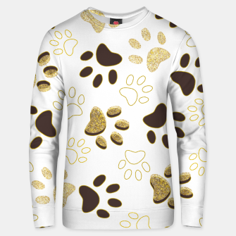 Thumbnail image of Gold and Chocolate Brown Colored Shining Paw Prints Unisex sweater, Live Heroes