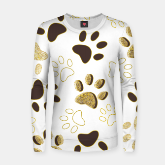 Thumbnail image of Gold and Chocolate Brown Colored Shining Paw Prints Women sweater, Live Heroes