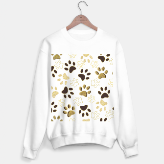 Thumbnail image of Gold and Chocolate Brown Colored Shining Paw Prints Sweater regular, Live Heroes