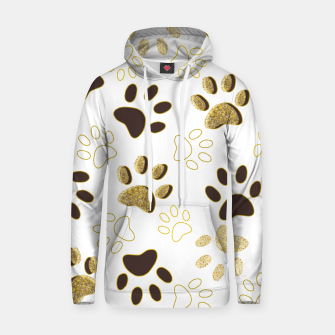 Thumbnail image of Gold and Chocolate Brown Colored Shining Paw Prints Hoodie, Live Heroes
