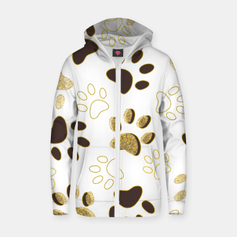 Thumbnail image of Gold and Chocolate Brown Colored Shining Paw Prints Zip up hoodie, Live Heroes
