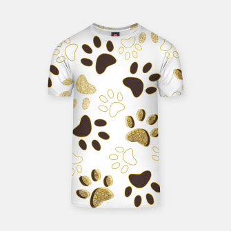 Thumbnail image of Gold and Chocolate Brown Colored Shining Paw Prints T-shirt, Live Heroes
