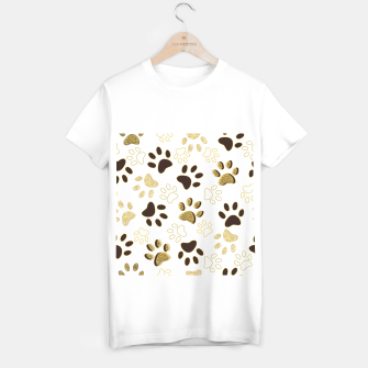 Thumbnail image of Gold and Chocolate Brown Colored Shining Paw Prints T-shirt regular, Live Heroes