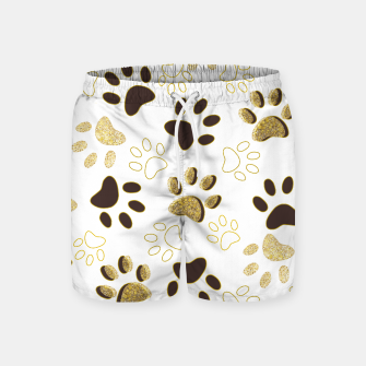 Thumbnail image of Gold and Chocolate Brown Colored Shining Paw Prints Swim Shorts, Live Heroes