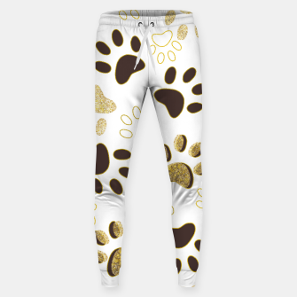 Thumbnail image of Gold and Chocolate Brown Colored Shining Paw Prints Sweatpants, Live Heroes