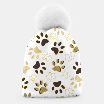 Thumbnail image of Gold and Chocolate Brown Colored Shining Paw Prints Beanie, Live Heroes