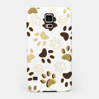 Thumbnail image of Gold and Chocolate Brown Colored Shining Paw Prints Samsung Case, Live Heroes